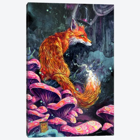 Nice Fox Canvas Print #BKT103} by Black Ink Art Canvas Art