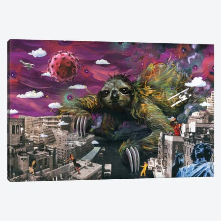 Sloth Cometh Canvas Print #BKT114} by Black Ink Art Canvas Artwork