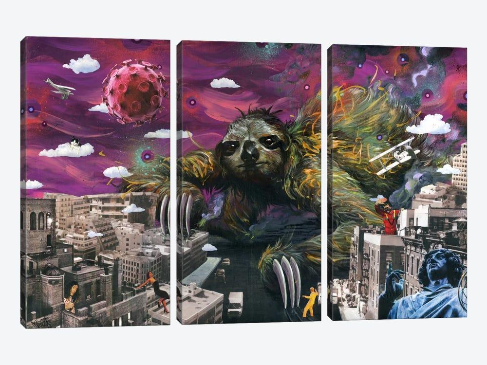 Sloth Cometh by Black Ink Art 3-piece Canvas Print