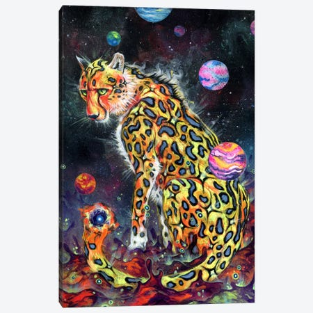 Space Cheetah Canvas Print #BKT116} by Black Ink Art Canvas Art