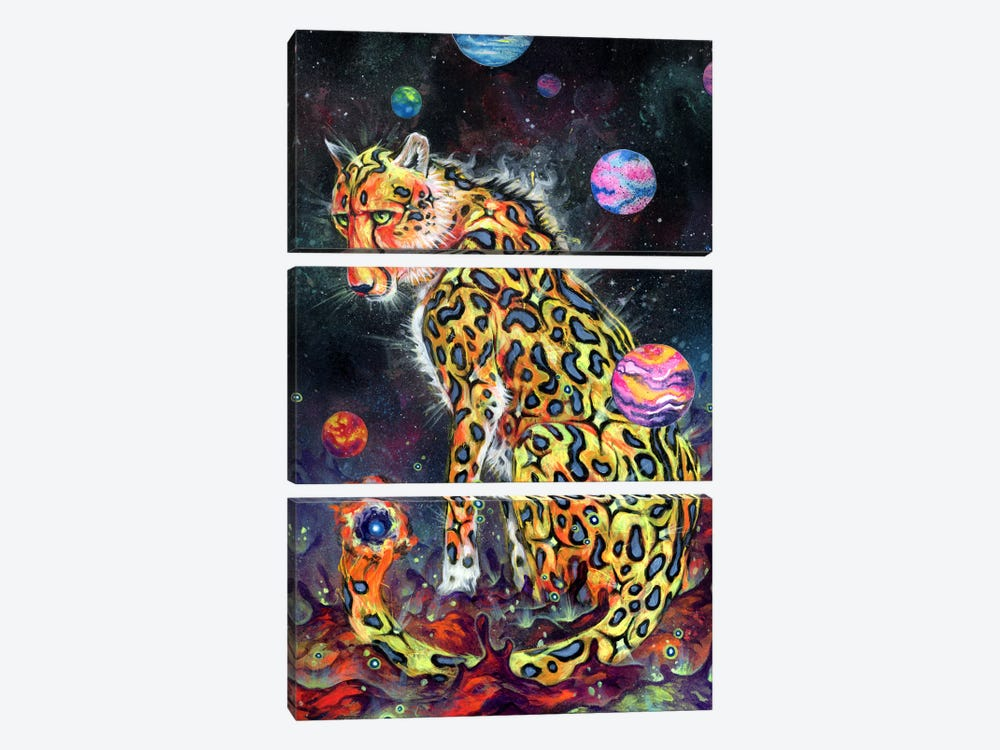 Space Cheetah by Black Ink Art 3-piece Canvas Art Print