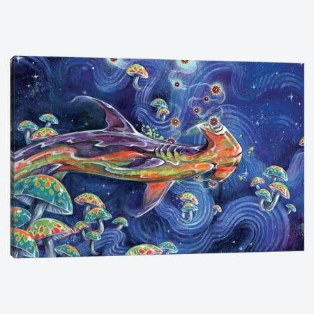 Shark Tea Canvas Print #BKT11} by Black Ink Art Art Print
