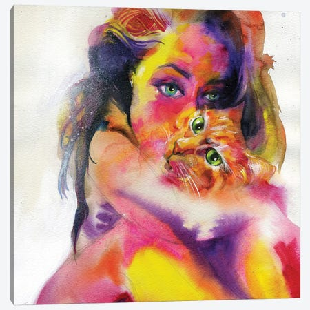 Cat Soup Canvas Print #BKT123} by Black Ink Art Canvas Artwork