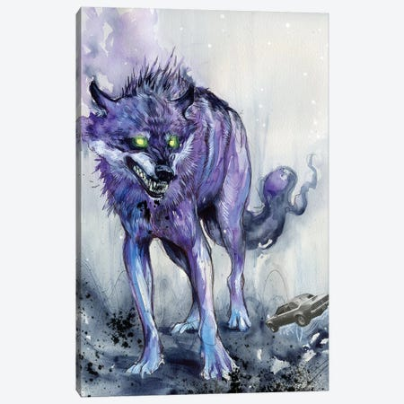 Fever Wolf Canvas Print #BKT125} by Black Ink Art Canvas Art Print