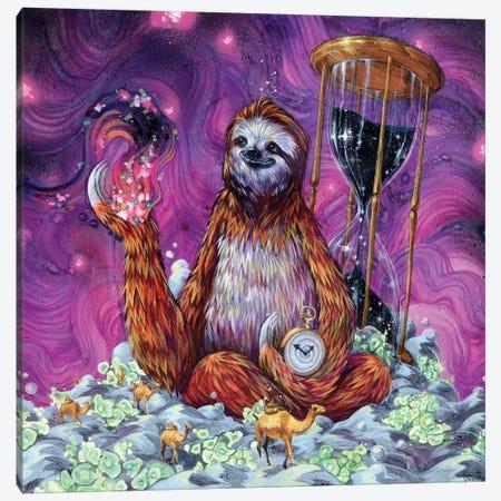 Time Master Poop Sloth Canvas Print #BKT21} by Black Ink Art Canvas Art