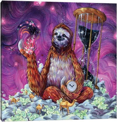 Time Master Poop Sloth Canvas Print #BKT21