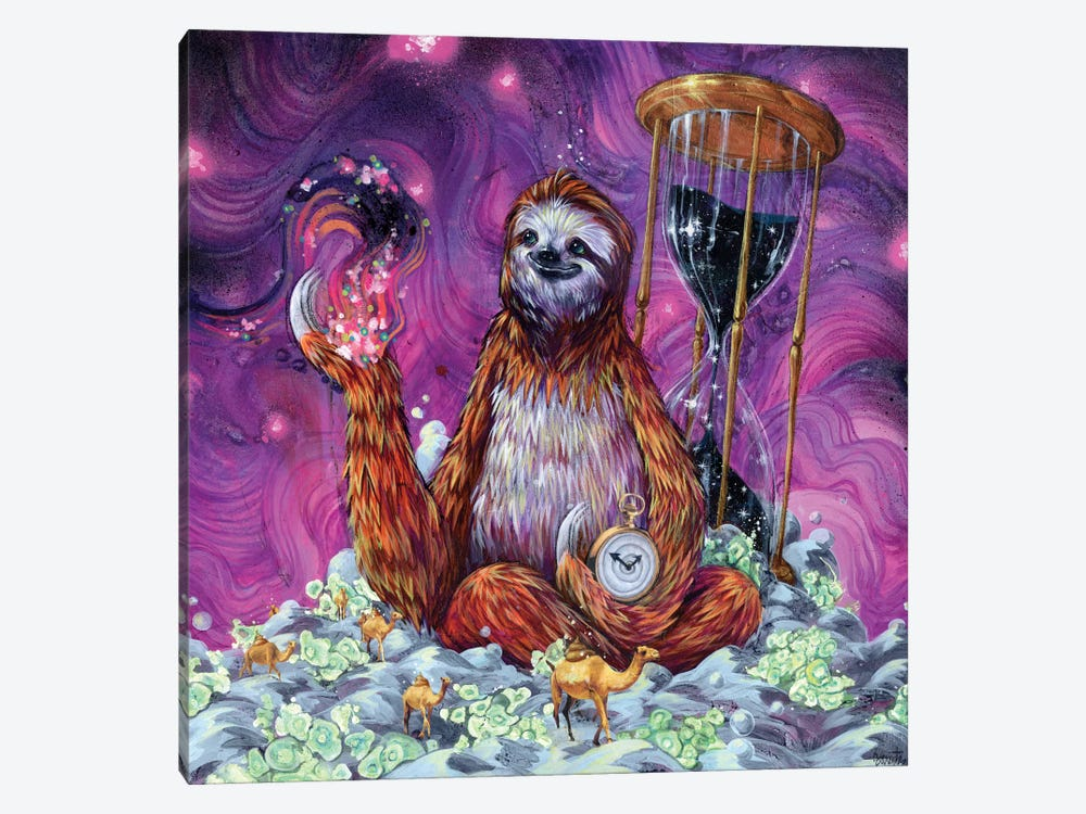 Time Master Poop Sloth by Black Ink Art 1-piece Canvas Wall Art