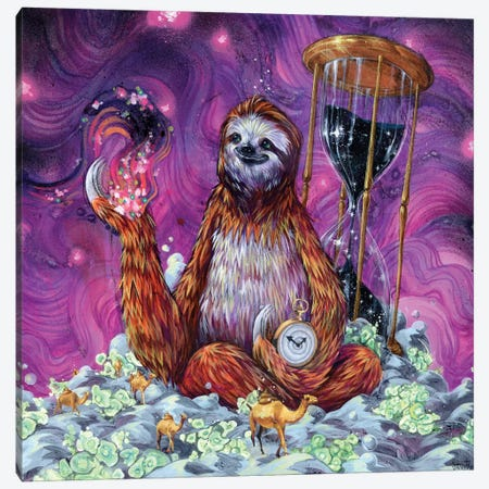 Time Master Poop Sloth Canvas Print #BKT21} by Black Ink Art Canvas Art