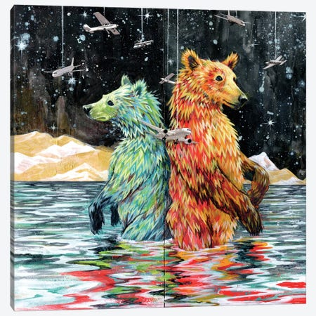 Bear Back Canvas Print #BKT31} by Black Ink Art Canvas Print