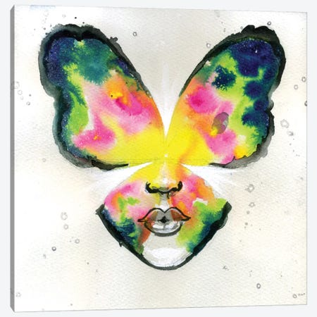 Butterfly Kiss Canvas Print #BKT38} by Black Ink Art Canvas Art Print
