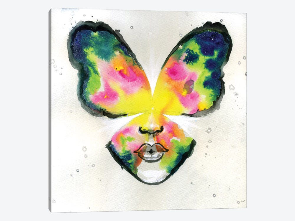 Butterfly Kiss by Black Ink Art 1-piece Canvas Artwork