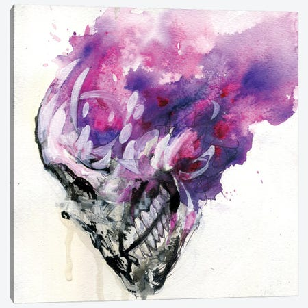 Purple Skull Canvas Print #BKT3} by Black Ink Art Canvas Art