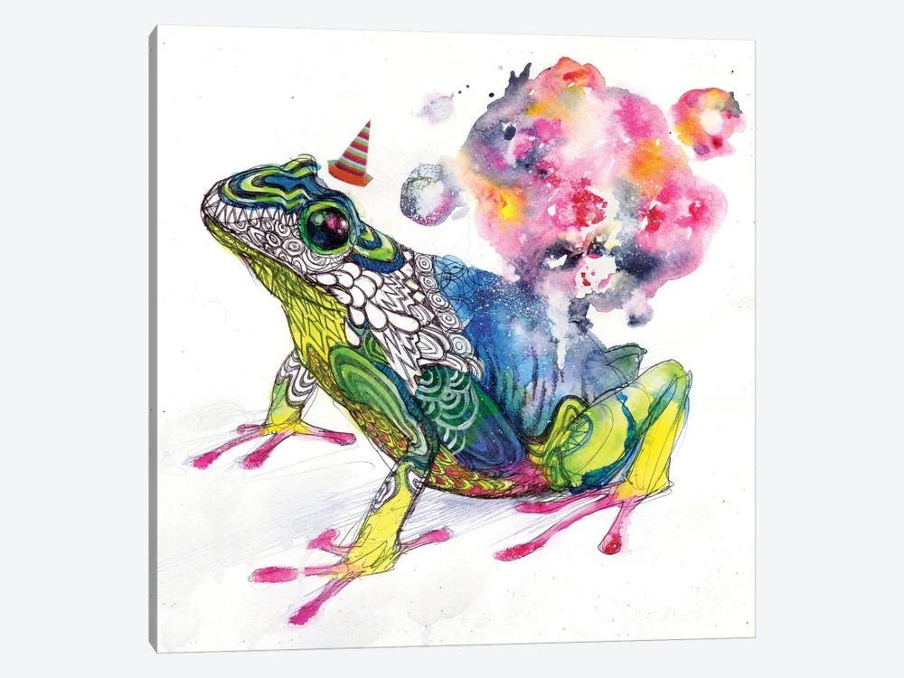 Party Frog by Black Ink Art 1-piece Canvas Artwork