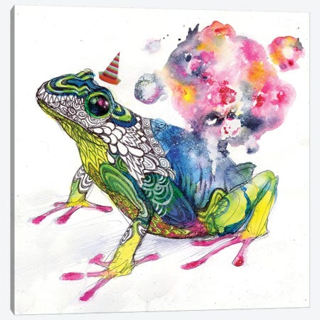 Party Frog Canvas Print #BKT63} by Black Ink Art Canvas Wall Art