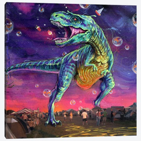 Festasaurus Rex Canvas Print #BKT93} by Black Ink Art Art Print