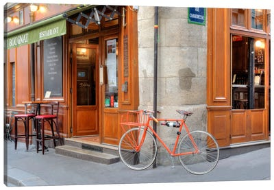 Orange Bicycle, Paris Canvas Art Print