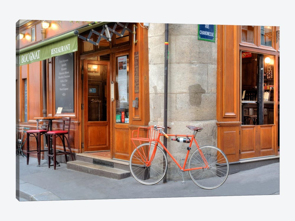 Orange Bicycle, Paris by Alan Blaustein 1-piece Canvas Wall Art