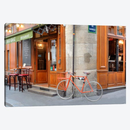 Orange Bicycle, Paris Canvas Print #BLA44} by Alan Blaustein Canvas Print