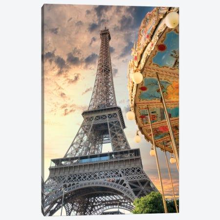 Eiffel Tower And Carousel I Canvas Print #BLA68} by Alan Blaustein Canvas Art