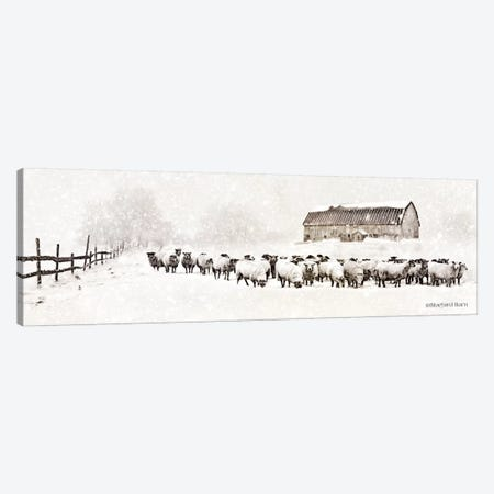 Warm Winter Barn with Sheep Herd Canvas Print #BLB104} by Bluebird Barn Canvas Artwork