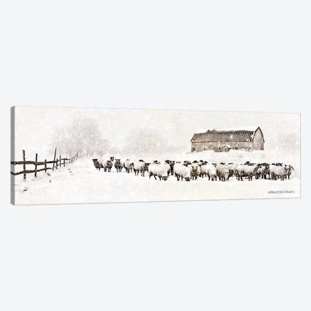 Warm Winter Barn with Sheep Herd Canvas Print #BLB104} by Bluebird Barn Canvas Artwork