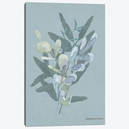 Watercolor Greenery Series Medium Teal II Canvas Print #BLB106} by Bluebird Barn Canvas Wall Art