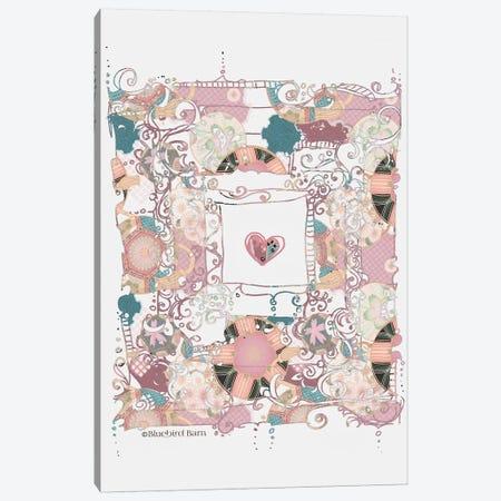 Whimsical Boho Pink Heart Canvas Print #BLB111} by Bluebird Barn Canvas Art