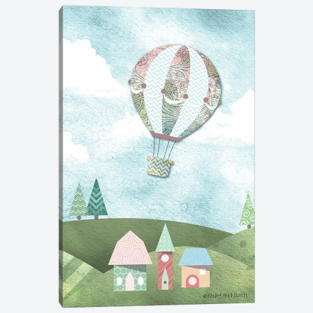 Whimsical Damask Design Hot Air Balloon Canvas Print #BLB112} by Bluebird Barn Canvas Wall Art