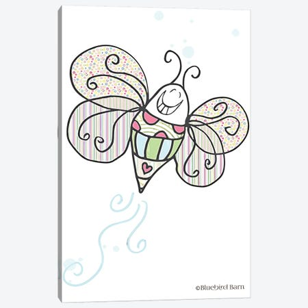 Whimsical Smiley Garden Bright Butterfly Canvas Print #BLB118} by Bluebird Barn Canvas Art