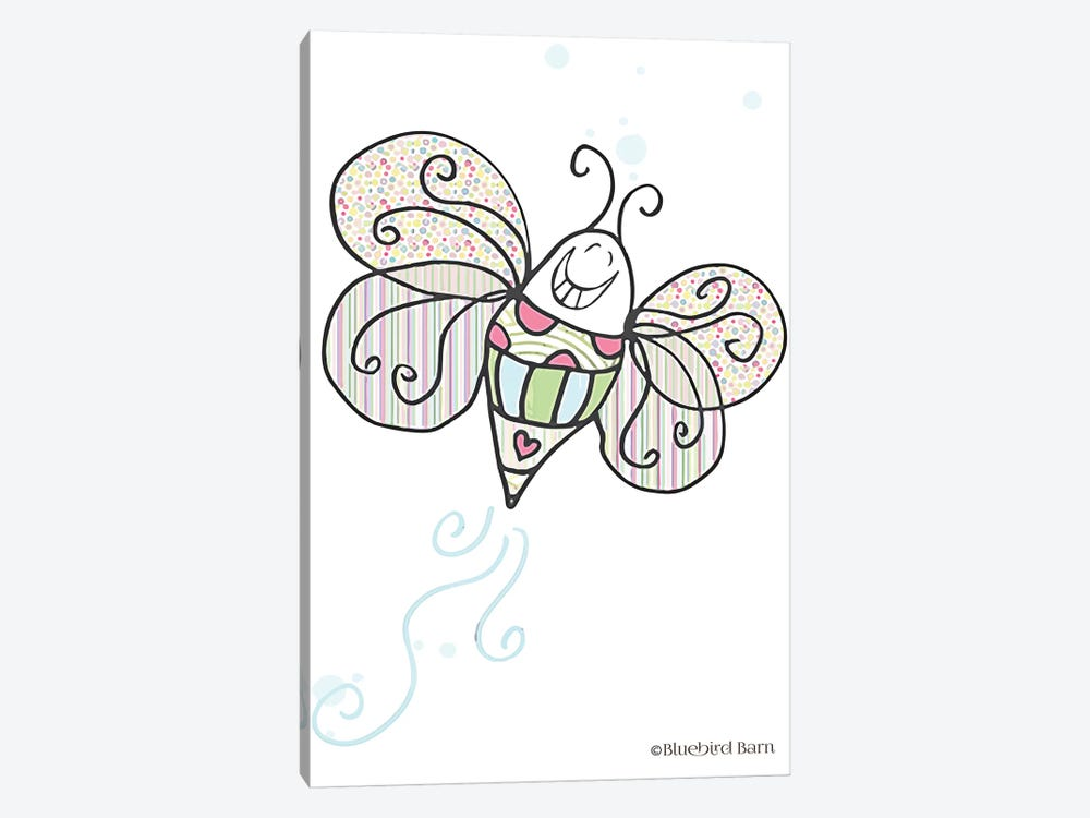 Whimsical Smiley Garden Bright Butterfly by Bluebird Barn 1-piece Canvas Print