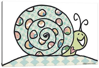 Whimsical Smiley Garden Snail Canvas Art Print