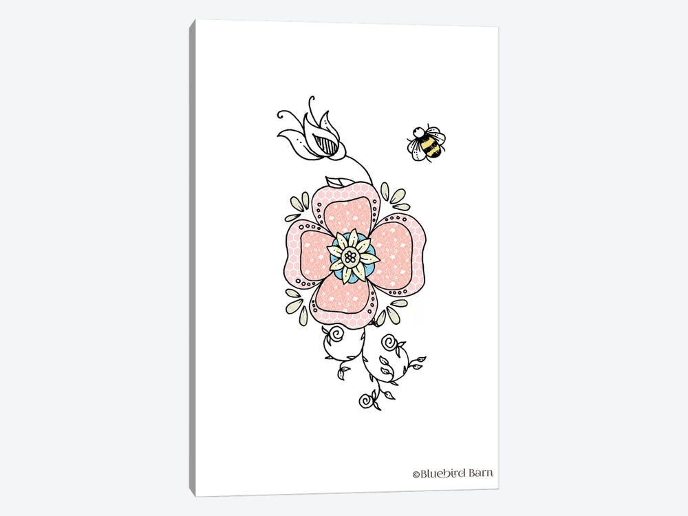 Whimsical Sweet Flower with Bee by Bluebird Barn 1-piece Canvas Artwork