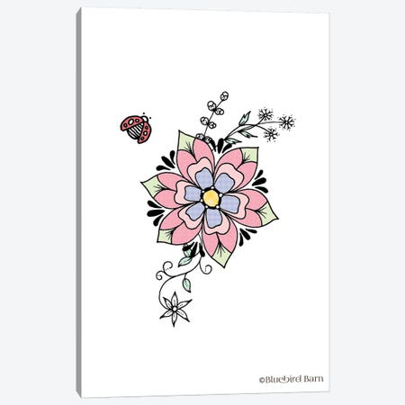Whimsical Sweet Flower with Ladybug Canvas Print #BLB123} by Bluebird Barn Art Print