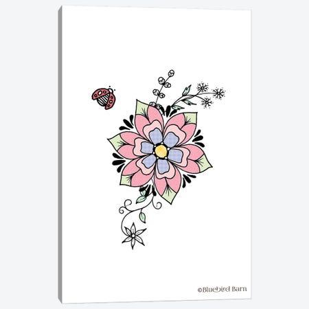 Whimsical Sweet Flower with Ladybug Canvas Print #BLB123} by Bluebird Barn Art Print