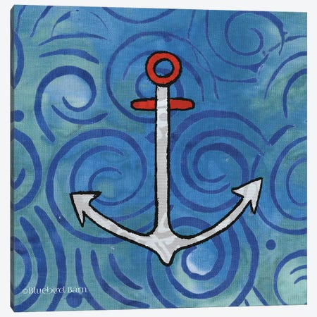 Whimsy Coastal Anchor Canvas Print #BLB126} by Bluebird Barn Canvas Artwork