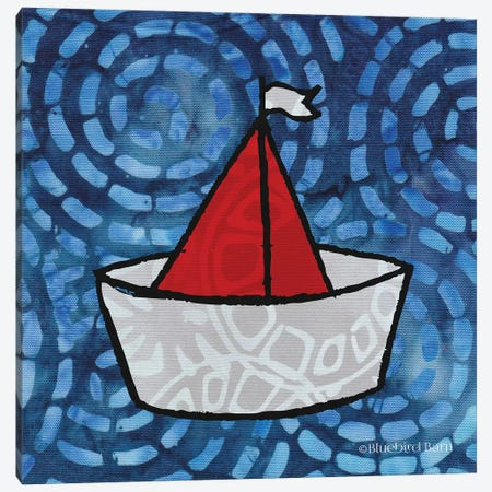 Whimsy Coastal Sailboat Canvas Print #BLB133} by Bluebird Barn Canvas Art