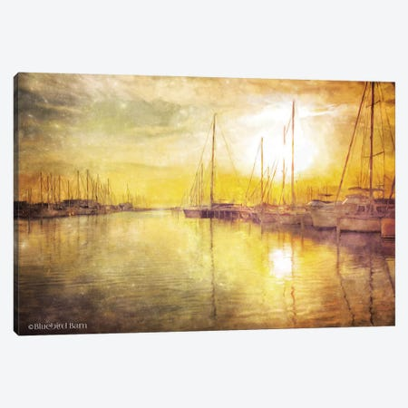 Yellow Sunset Boats in Marina Canvas Print #BLB139} by Bluebird Barn Canvas Art