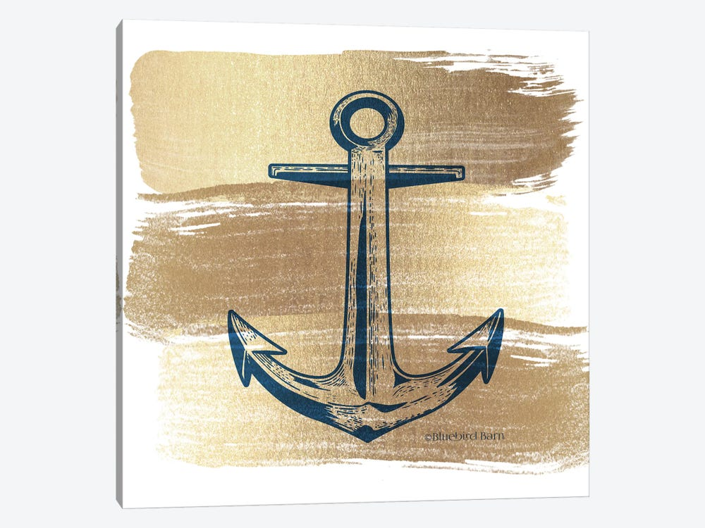 Brushed Gold Anchor by Bluebird Barn 1-piece Canvas Art