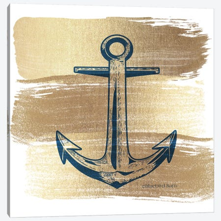 Brushed Gold Anchor 3-Piece Canvas #BLB142} by Bluebird Barn Canvas Art Print