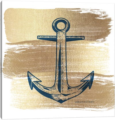 Brushed Gold Anchor Canvas Art Print