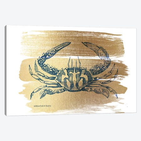 Brushed Gold Crab Canvas Print #BLB146} by Bluebird Barn Canvas Art