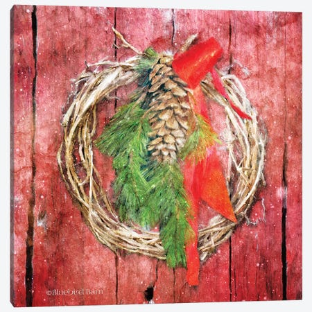 Rustic Wreath Canvas Print #BLB161} by Bluebird Barn Art Print