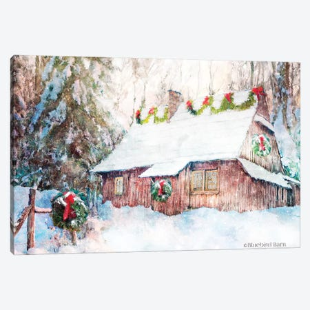 Snowy Christmas Cabin Canvas Print #BLB162} by Bluebird Barn Canvas Art Print