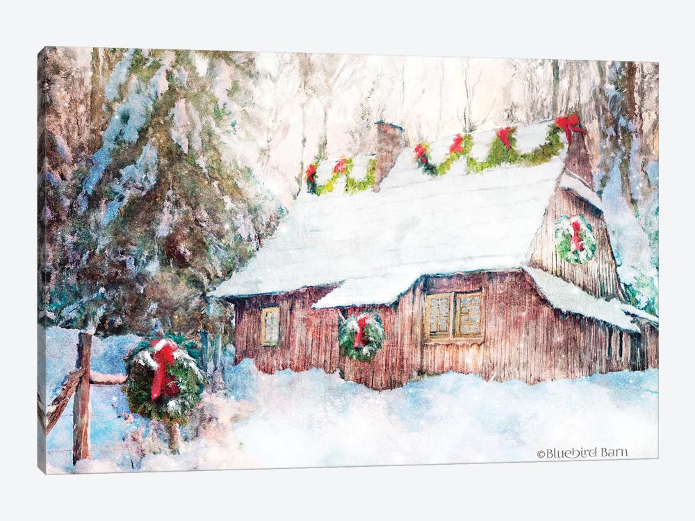 Snowy Christmas Cabin by Bluebird Barn 1-piece Canvas Art