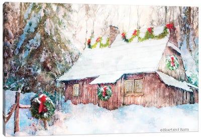 Snowy Christmas Cabin Canvas Art Print