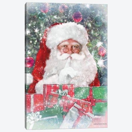 Snowy Secret Santa Canvas Print #BLB163} by Bluebird Barn Art Print