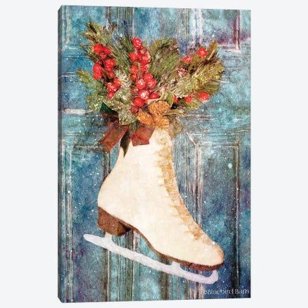 Winter Skate with Floral Spray Canvas Print #BLB171} by Bluebird Barn Canvas Artwork