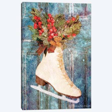 Winter Skate with Floral Spray Canvas Print #BLB171} by Bluebird Barn Canvas Artwork