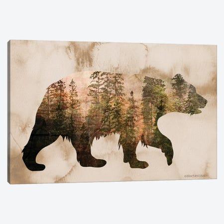 Brown Woods Bear Silhouette Canvas Print #BLB175} by Bluebird Barn Canvas Print