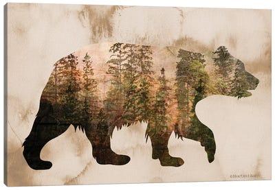 Brown Woods Bear Silhouette Canvas Art Print